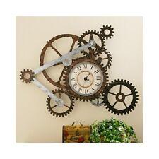 Rustic Wall Clock Industrial Metal Gears Vintage Home Art Modern Decor Large New