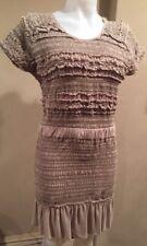 Isabel Marant SZ M/L  LEMMON Taupe Silk Short Sleeve Dress w Ruching