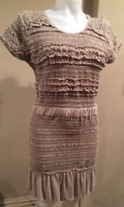 Isabel Marant SZ M/L  LEMMON Taupe Silk Short Sleeve Dress w Ruching