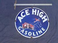 "VINTAGE ACE HIGH GASOLINE W/ AIRPLANE & CAR 30"" PORCELAIN METAL MIDWEST OIL SIGN"