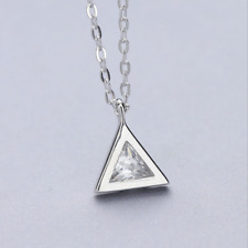 925 Sterling Silver Diamond Triangle Pendant Necklace Chain SOLID SILVER Jewelry