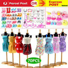 70pcs Items For Barbie Doll Jewellery Clothes Set Accessories Dresses Shoes