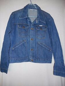 Vintage Wrangler 100% cotton denim Jacket Western Horseman Top Hand patch