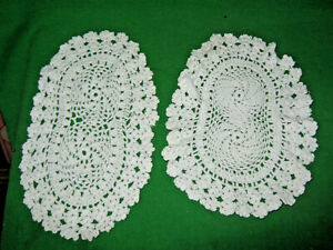2 Vintage Oval Doilies White Hand Crocheted