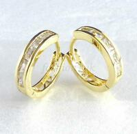 Unisex Huggie Hoop Earrings Simulated Diamond 14K Gold Plated 14mm UK