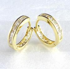 fashion1uk Diamante Sintético 14k chapado en oro unisex Huggie Pendiente de aro