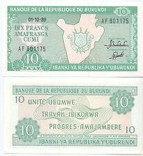 Burundi - 10 Francos 1989 UNC - Pick 33b