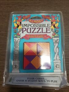 Vintage ALMOST IMPOSSIBLE PUZZLE FOUR CUBE BINARY ARTS CORP STILL SEALED