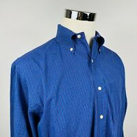 Brooks Brothers Mens Large Casual Button Down Shirt Blue White Plaid USA Made