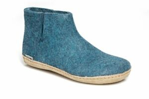 Glerups The Boot With Leather Sole Petrol 100% Wool Slippers Everyday for Men
