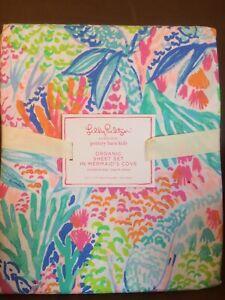 POTTERY BARN KIDS Organic Lilly Pulitzer Mermaid's Cove FULL Sheets 4 pc Set-NEW