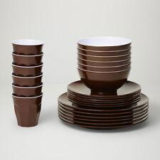 Barel Designs Classic Brown Melamine 48 Piece Dinner Set - Cups, Bowls, Plates
