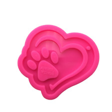 Heart with Dog Paw Silicone Mold for Epoxy Crafts, Resin Craft Molds