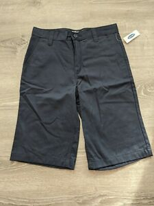 Old Navy Flat-Front Uniform Shorts for Boys Size 14 Classic Blue New