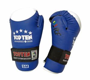 TOP TEN ITF LOGO TKD Taekwon-Do Superfight  BLUE White Open Hand LEATHER Gloves