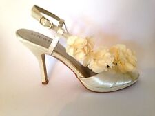 Kelly & Katie Off White Ivory Flower Bridal Sling Back Heel Shoe 7.5