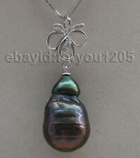 Natural 24mm Black Baroque Reborn Keshi Pearl Pendant 925silver hook #f2072!