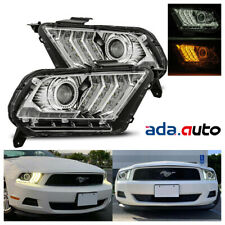 For 2010-2012 Ford Mustang LED Switchback Sequential Projector Chrome Headlights