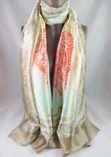 """Dansk Smykkekunst - 6C423 Taupe Coral Print Viscose Silk Blend Scarf 70"""" x 35"""""""