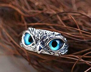 Vintage Blue Owl 925 Sterling Silver Plt Adjustable Ring Women Jewellery Gift UK