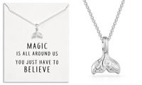 Silver Mermaid Tail Necklace with Quote Card