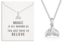 Sterling Silver Plated Mermaid Tail Necklace With Quote Card in Gift Pouch
