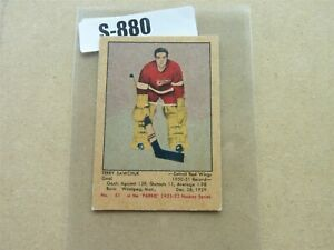 VINTAGE HOCKEY CARD PARKHURST 1951-52  DETROIT RED WING TERRY SAWCHUK ROOKIE