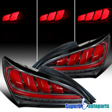 For 2010-2016 Hyundai Genesis Coupe Sequential LED Black Red Bar Tail Lights