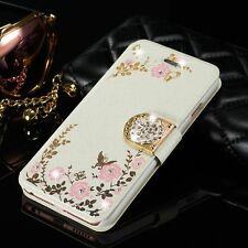 Luxury Magnetic Diamond Flower Flip Card Wallet Case Cover For Samsung/iPhone