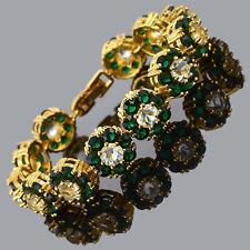 Rhinestone Round Cut Green Emerald Tennis 18K Gold Plated Fashion Bracelet