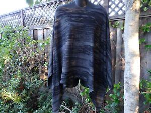 NALLY & MILLIE Black Gray print Kimono Dolman Tunic Layering Top M/L One Size