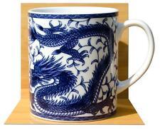 Lucky japonais dragon bleu porcelaine feng shui mug