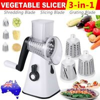 AU Kitchen Multifunction Vegetable Food Manual Grater Chopper Slicer 3 Blades
