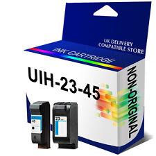 2 Generic Reman Ink Cartridges Unbrand Fits for hp #23 C1823DE #45 51645AE