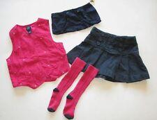 Baby Gap preppy prints pleated denim jean skirt pink apple vest top socks 5 5T 4