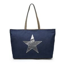 Large Navy Blue Bag Silver Star Canvas Bags Ladies Holiday Beach Work Gym Zip