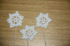 3 x HANDMADE CROCHET WHITE sparkly SMALL SNOWFLAKE CHRISTMAS APPLIQUE