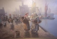 Adolf Baumgartner Signed Oil On Canvas Austrian Waiting For Fishers Sea Painting