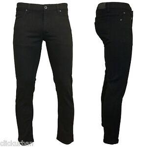 KAYDEN.K JET BLACK Men's Skinny Fit Stretch Twill Denim Jeans Pants Size 28-42
