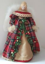 Christmas Tree Top Angel 30cm White Feather Wings Red Tartan Coat Gold Skirt
