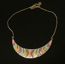 Pastel chevron style arrows plate Necklace pink purple blue green