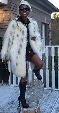 New Designer cream White Mongolian lamb fur Coat Jacket turns into Cape S-M 0-10