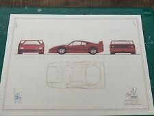 Ferrari F40 1987  Blueprint / Konstruktionszeichnung