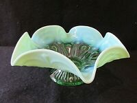 Dugan/Northwood Green Opalescent Keyhole Pattern Ruffled Edge Footed Bowl (1905)