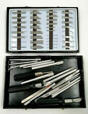 Joblot Mixed Size Crafting/Hobby tools & handles in Plastic Case. (VERY SHARP)