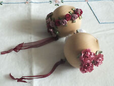 """Collectible Holiday Christmas 2 1/2"""" Ornament Set 2 Ribbon Roses Beige Burg Pink"""