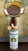 Mid Century Lucite Flower in Olympia Beer Can Folk Art Sculpture