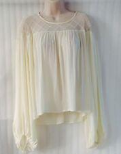 NEW~ HAZEL ~ Ivory Crochet Lace Blouse Peasant Shirt Boho Top ~12/14/M Long Slev