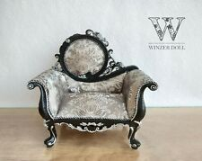 1/4 doll armchair black baroque, for doll 16 inch, BJD doll furniture