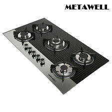 """New listing 35.5"""" Luxury Plaid 5 Burner Built-in Gas on Glass Black Hob Stove Gas Cooktops"""